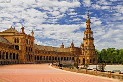 Square of spain - Seville (Artigazo ) Tags: espaa tower architecture zeiss canon starwars interestingness sevilla spain espanha europa europe torre tour toren eu seville andalucia explore torn andalusia turm espagne europeanunion sville plazadeespaa spanien spagna ze andalousie ue iberia sevilha  siviglia ibero  ibrico iberico parquemarialuisa unineuropea ibrica explored eos450d spainsquare sevillan hispalis  interesantsimo  distagont2821 distagon2128ze sevillban artigazo