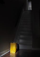 what's in the bag?... (Mr.  Mark) Tags: deleteme5 light shadow deleteme8 sunlight deleteme deleteme2 deleteme3 deleteme4 deleteme6 deleteme9 deleteme7 yellow mystery stairs dark bag photo saveme4 saveme saveme2 saveme3 deleteme10 package markboucher
