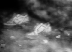 Dreamy Sneakers (BACKYard Woods Explorer) Tags: clouds trash blurry sneakers litter abandonedbuildings abandonedshoes artisticflop casinosupplywarehouse toomuchbokeh january2012 fujifulmfinepixs1500
