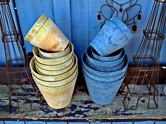 piles of pots (Mr.  Mark) Tags: blue deleteme5 deleteme8 deleteme2 deleteme3 deleteme4 deleteme6 deleteme9 deleteme7 yellow garden ceramic photo saveme saveme2 deleteme10 pot deleteme1 markboucher
