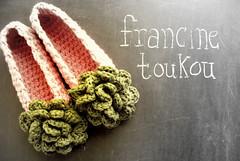 crochet slipper lookbook - complimentary copies (FRANCINE TOUKOU) Tags: pattern pdf styling lookbook balletflats crochetflowers roomshoes headtotoe crochetslippers