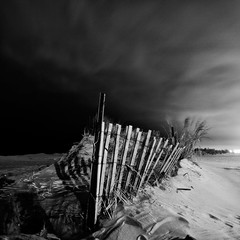 Dunes I (Jack Fusco) Tags: ocean longexposure black beach fence square photography newjersey dunes fineart belmar jackfusco wwwjackfuscocom whitebwnight
