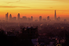 (lazy_lazy_dog) Tags: city morning sunlight london fog skyline architecture buildings dawn skyscrapers horizon shard gherkin centrallondon londonskyline londonarchitecture colorphotoaward londoncityscape