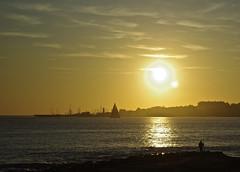 halo (r e p o ()) Tags: sunset sea portugal coast fisherman estoril