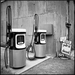 Open, Petrol Diesel (Seriously People) Tags: white black pumps fuji open diesel mobil hasselblad petrol acros lc29 503cx ilfotec bwfp