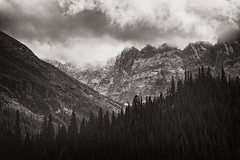 (posthumus_cake (www.pinnaclephotography.net)) Tags: light blackandwhite bw mountain mountains nature monochrome clouds forest canon landscape eos mono blackwhite montana mt monotone glacier telephoto alpine 5d glaciernationalpark 70200 canoneos5d 70200l swiftcurrentlake thesalamander canonef70200mmf4lusm mountgrinnel eventhoughitisoutofview
