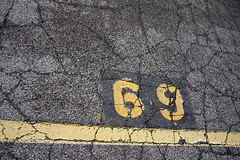 69 (efairhurst) Tags: yellow pavement parking cement crack cracks 69 parkingspace efairhurst blinkagain