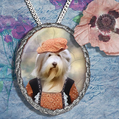 Bearded Collie Pendant Porcelain Handmade - Lady with Hat Silver Frame PN