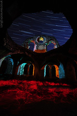 Holy Place (AndWhyNot) Tags: light lightpainting church abbey night painting star wire ruins long exposure ruin trails el holy monastery gel relic 0816