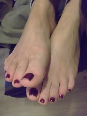 Painted Toes (hardasnails) Tags: red black sexy feet beautiful female fetish silver dark foot toes paint pretty toe legs nail polish soles varnish