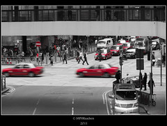The reds... (mraadsen) Tags: china red streets canon hongkong eos asia flickr cityscape traffic taxi taxis pedestrians urbanlife verkeer stadsgezicht 550d 1585mm mraadsen