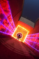 (quornflake) Tags: longexposure blue red urban orange moon lightpainting man wool yellow night stars tunnel fisheye lighttrails trippy sparks digitallightwand