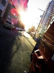 Dumpster Glare (bkorns4) Tags: morning urban sun station trash dumpster sunrise wagon alley glare flare