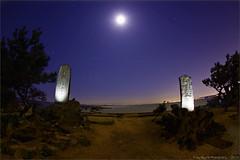 Morito Jinja Shrine - 35/366 (Planet_Jyro) Tags: moon beach night shrine timeexposure 365 canondslr offcameraflash