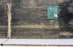 Hobson Street wall (shaggy359) Tags: street cambridge brick green window wall thomas pavement bricks pipe dirty sidewalk shutter footpath cambridgeshire brickwork hobson cambs hobsonstreet