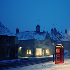 Time Machine (Andrew Lockie) Tags: winter red snow english stone buildings booth call village box telephone scene cotswolds charm kiosk typical quaint highstreet chipping cotswold campden panasonicgx1