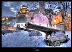 Batterie HDR III (jean271972) Tags: city winter snow castle night canon quebec hiver neige chateau nuit hdr ville frontenac villedequbec digitalblending capitalenationale jean271972