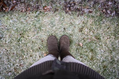 brown grass self frozen frost pov crispy emuboots