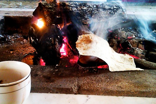 Lavash on the fire