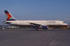 Canadian Airlines Airbus A320-211; C-GPWG, April 1991 (Aero Icarus) Tags: plane aircraft flugzeug avion slidescan airbusa320 canadianairlines cgpwg