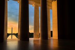 Washington from Lincoln (Rick Sause Photography) Tags: old morning blue light shadow sky orange usa white reflection building history monument water pool yellow america sunrise canon mall photography washingtondc early photo dc washington memorial united nation columns landmark historic national photograph lincoln column states marble washingtonmonument captial rsp ricksausephotography