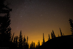 Persied - Redux (Patstirling) Tags: world trip travel trees light sky canada mountains art silhouette yellow skyline night river dark stars landscape kananaskis shower haze f14 falls alberta elbow wife hue meteor dg perseid fav25 hsm foothils sigma24mm canon6d
