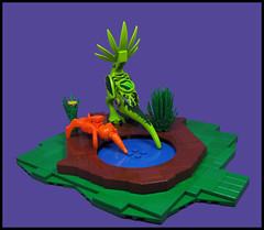 Life at the local waterhole (Karf Oohlu) Tags: lego moc vignette waterhole pond drinking fauna alienlife waterislife