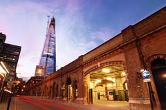 Shard (MaltLoafer) Tags: longexposure england london glass skyscraper londonbridge construction arch crane dusk oneway shard railwayarch
