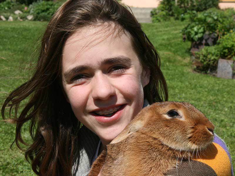 Ferienhof Laux - Mädchen mit Hasen