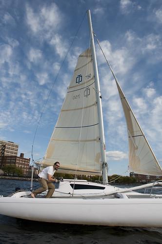 sailboat sailing trimaran bostonharbor