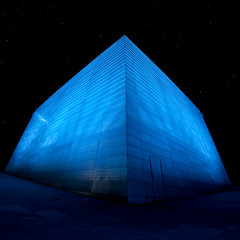 Cube (Bangern) Tags: blue light norway architecture night dark nikon long exposure pyramid scifi oslooperahouse d700 samyang14mm28