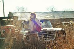 (yyellowbird) Tags: selfportrait abandoned girl car truck vintage illinois studebaker junkyard cari 1960studebakerchamp
