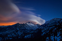 Lenticular Clouds Over Longs Peak (Erik Page Photography) Tags: park blue light orange mountain nature beauty canon stars twilight colorado long exposure natural rocky sigma peak right glacier national pollution stuff gorge rmnp really lenticular longs feisol