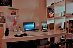 My Desk (ND Filters) (Ryan J. Nicholson) Tags: camera old colour ikea apple lamp mobile vintage notebook photography lava design office pc student bedroom mac chair nikon long exposure university ibook g4 power desk laptop space year vinyl device retro filter albums lp nd record teenager pro isight 18 g3 tablet offices 4s density iphone neutral ipad d90 macbook