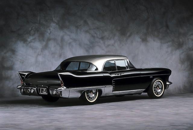 black car eldorado 1950s 1958 brougham cadillac1957