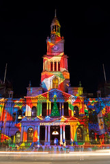 Sydney Town Hall (Kokkai Ng) Tags: christmas xmas city light building public night dark lights traffic display sydney australia christmastree celebration busy celebrations newsouthwales townhall cbd colourful christmaseve merrychristmas lightstreaks georgest 2011 sydneytownhall sydneychristmas