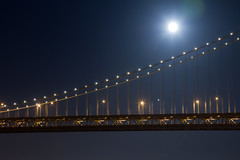 Oakland Bay Bridge and Full Moon (Andy Frazer) Tags: nightphotography fullmoon oaklandbaybridge explored