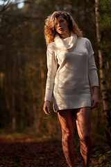 Sprig (sixbysixtasy) Tags: wood trees winter light red portrait colour nature girl fashion forest hair sweater model nikon warm gorgeous profile 85mm curly blonde bracken backlit nikkor mayhem d700