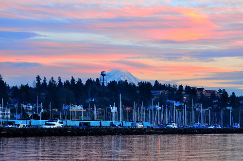 Des Moines Marina with Mt. Rainier at Sunset