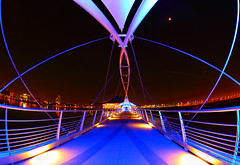 Tempe Town Lake Pedestrian Bridge Fisheye (gbrummett) Tags: bridge arizona lake night lights pretty angle wide az pedestrianbridge tempetownlake img6603 canoneos5dmarkii canonef15mmf28lens grantbrummett