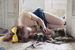 (yyellowbird) Tags: winter house selfportrait abandoned love girl animal dead death soft sad sweet sleep raccoon cari