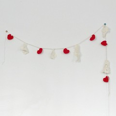 You Have My Heart (itchinstitchin) Tags: red white vintage heart lace crochet decoration garland valentine yarn decorating hanging romantic decor cottagestyle valentinesday bunting shabbychic grannychic