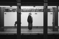 Lost and Alone (NeoAntares (away for a while)) Tags: new york blackandwhite bw station alone metro platform f28 2470mm sigma2470mmf28ifexdghsm
