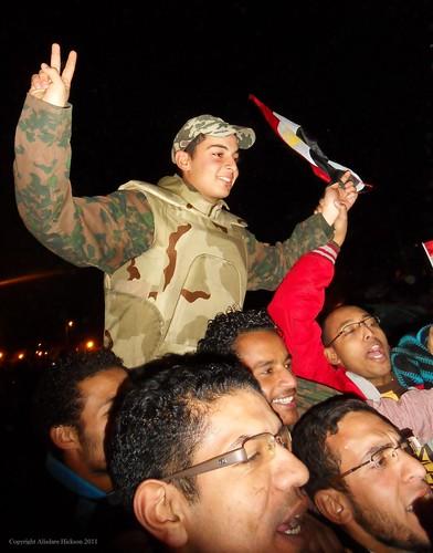 soldier celebration celebrate mubarak cairo tahrirsquare 11february2011 army hosnimubarak protesters february2011 egypt resignation carryaloft arabspring vsign crowd dictator humanrights breadfreedom socialjustice presidentmubarak