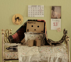 'friggatriskaidekaphobia Danbo' (.OhSoBoHo) Tags: cute love canon toy japanese 50mm robot bed calendar sweet mini kawaii aww pearl superstition freakyfriday 2012 phobia friday13th amazoncojp cardboardrobot unluckyforsome canoneos40d friggatriskaidekaphobia danboard 50daysof50mm ohsoboho danbophotography danboonfriday13th fearoffriday13th