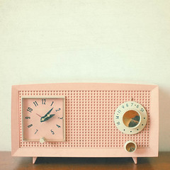 Easy Listening (_cassia_) Tags: pink brown white clock beauty squares cream dial retro numbers knobs waffle vintageradio midcentury candycolours lolasroom