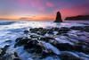 Davenport Sea Stack (Willie Huang Photo) Tags: ocean sunset santacruz seascape nature landscape waves pacific scenic davenport hwy1 californiacoast davenportbeach