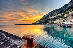 Amalfi sunset (Photos On The Road) Tags: travel pink blue sunset sea sky italy orange mountain seascape color reflection tourism nature water beauty rock landscape outside outdoors evening coast europa europe mediterranean mediterraneo italia tramonto mare campania amalficoast peace view outdoor dusk horizon scenic peaceful nobody nopeople scene southern cielo romantic acqua turismo viaggi tranquil hdr amalfi salerno paesaggio bollard sera bitt luoghi bitta costieraamalfitana litorale meridionale elaborazioni orizzontale outdoorshot lpcrepuscular