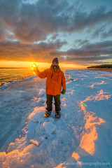 Good Morning! ... 0f (Ken Scott) Tags: winter usa selfportrait ice sunrise michigan shoreline january sunburst 2012 selfie leelanau omena kenscott kenscottphotography kenscottphotographycom