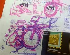 Fat Weasel (misterbigidea) Tags: art beer bike sign sketch chalk artist display fat cartoon champion ale tire battle super joe bowl doodle traderjoes weasel concept joes chalkboard brew scribble trader traderjoe fattireale fatweaselale